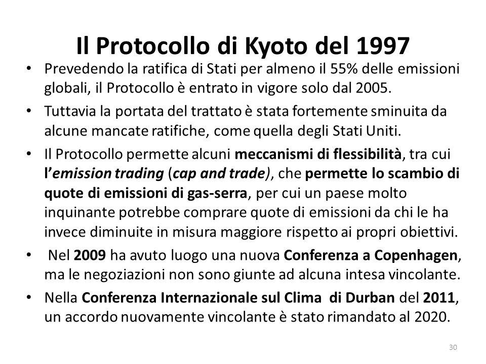 Il Protocollo di Kyoto del 1997 Prevedendo la ratifica di Stati per almeno il 55% delle emissioni globali, il Protocollo è entrato in vigore solo dal