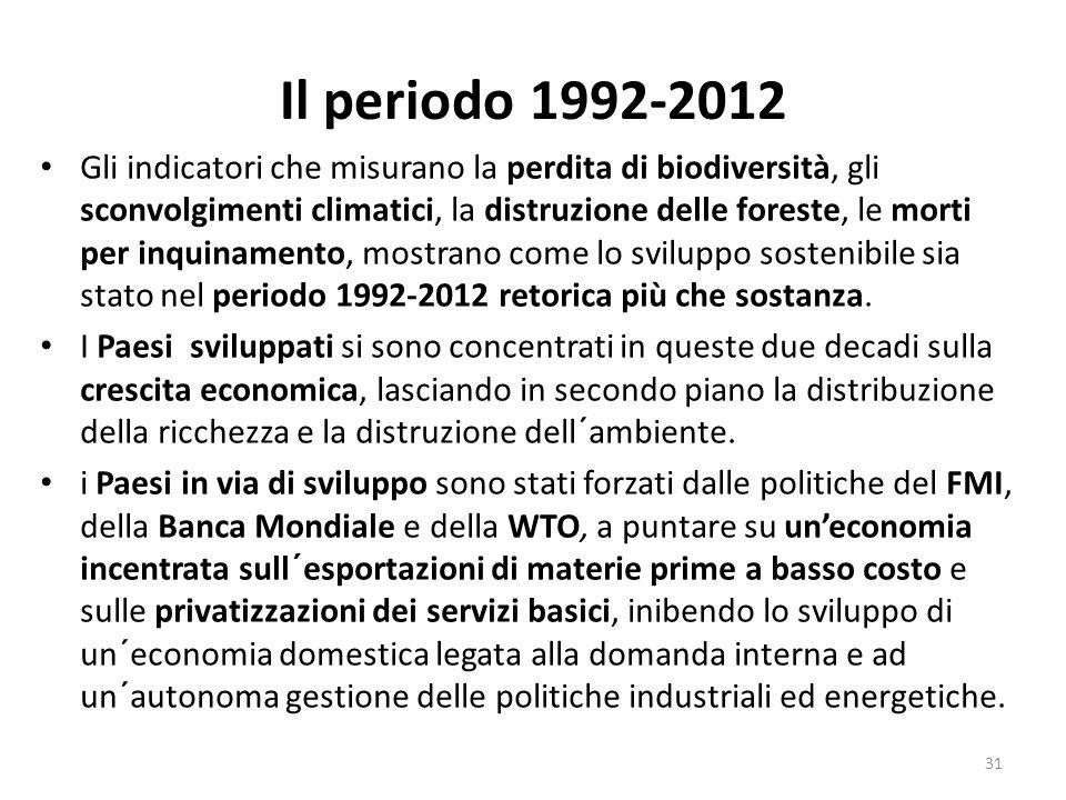 Il periodo 1992-2012 Gli indicatori che misurano la perdita di biodiversità, gli sconvolgimenti climatici, la distruzione delle foreste, le morti per
