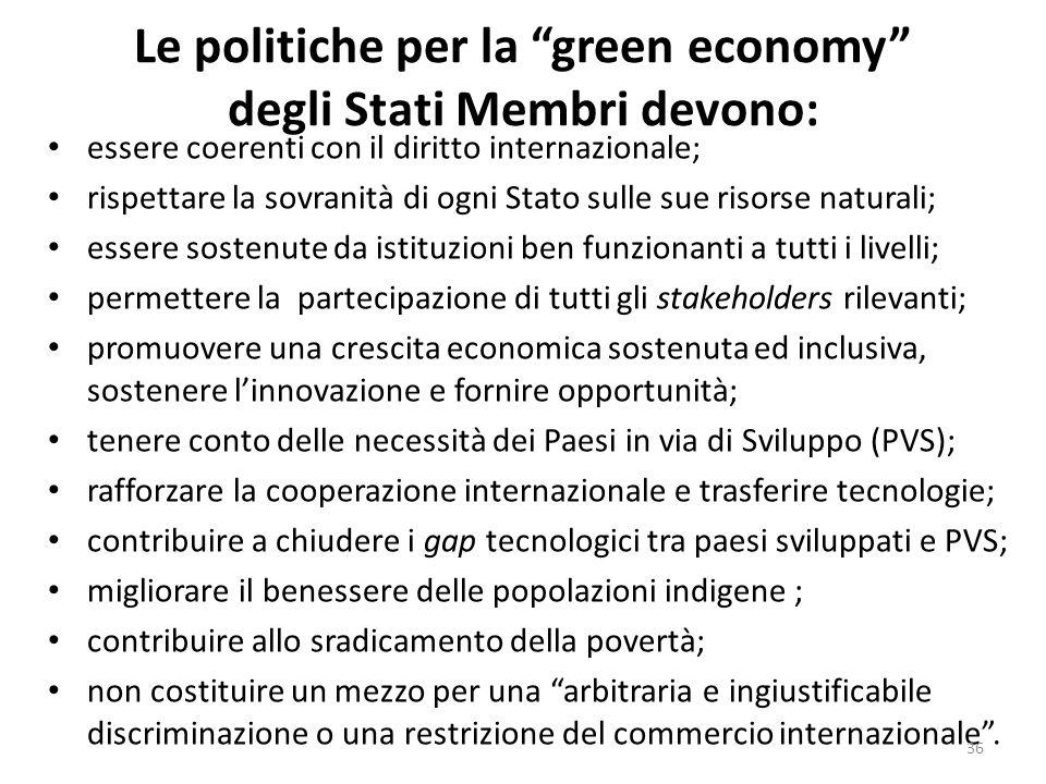 """Le politiche per la """"green economy"""" degli Stati Membri devono: essere coerenti con il diritto internazionale; rispettare la sovranità di ogni Stato su"""