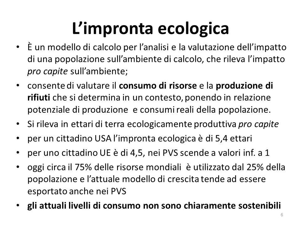 L'impronta ecologica È un modello di calcolo per l'analisi e la valutazione dell'impatto di una popolazione sull'ambiente di calcolo, che rileva l'imp
