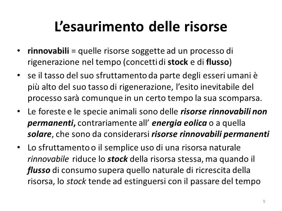 L'esaurimento delle risorse rinnovabili = quelle risorse soggette ad un processo di rigenerazione nel tempo (concetti di stock e di flusso) se il tass