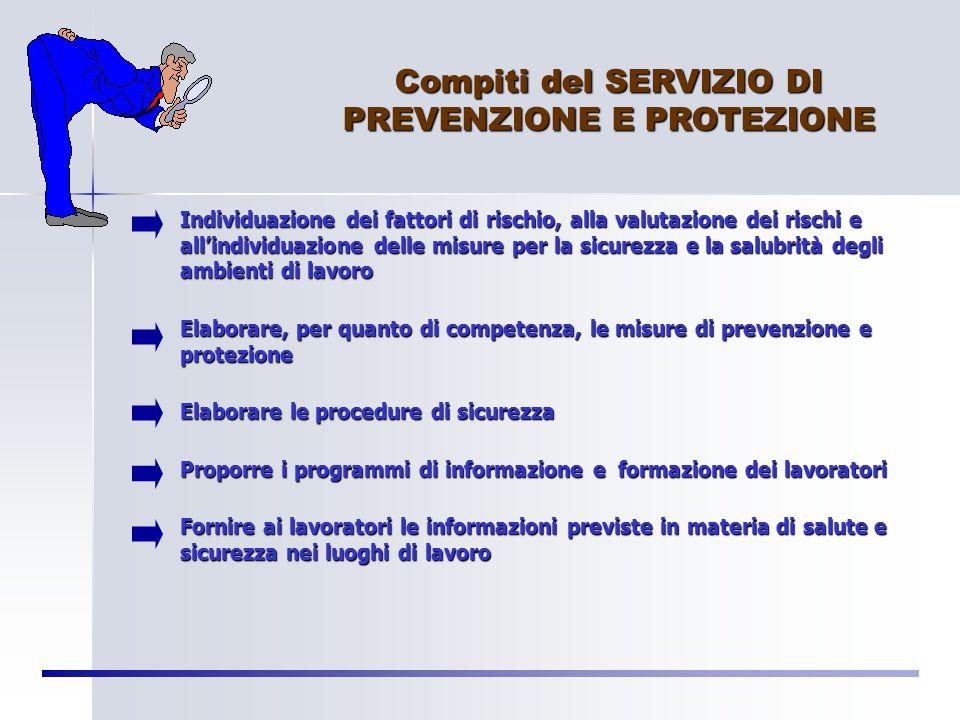 """SERVIZIO DI PREVENZIONE E PROTEZIONE """"…insieme delle persone, sistemi e mezzi esterni o interni all'azienda finalizzati all'attività di prevenzione e"""