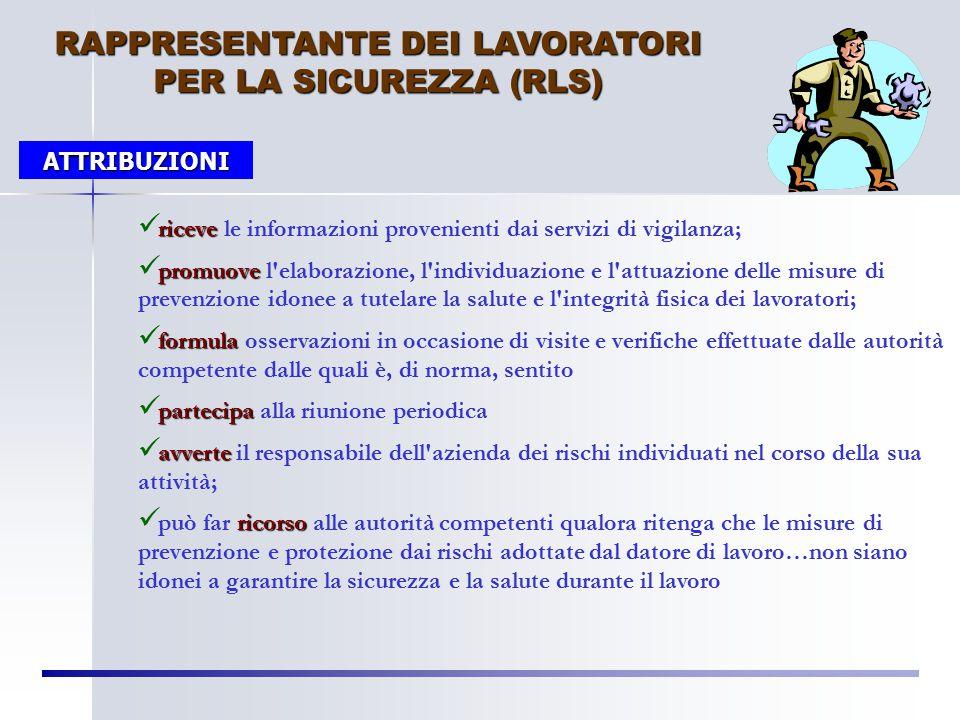 """RAPPRESENTANTE DEI LAVORATORI PER LA SICUREZZA (RLS) """"…persona eletta o designata per rappresentare i lavoratori per quanto concerne gli aspetti della"""