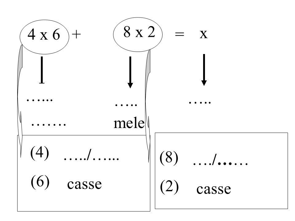 4 x 6+ 8 x 2 = x kg ….. pere mele (4) …../…... (6) casse (8) …./…… (2) casse