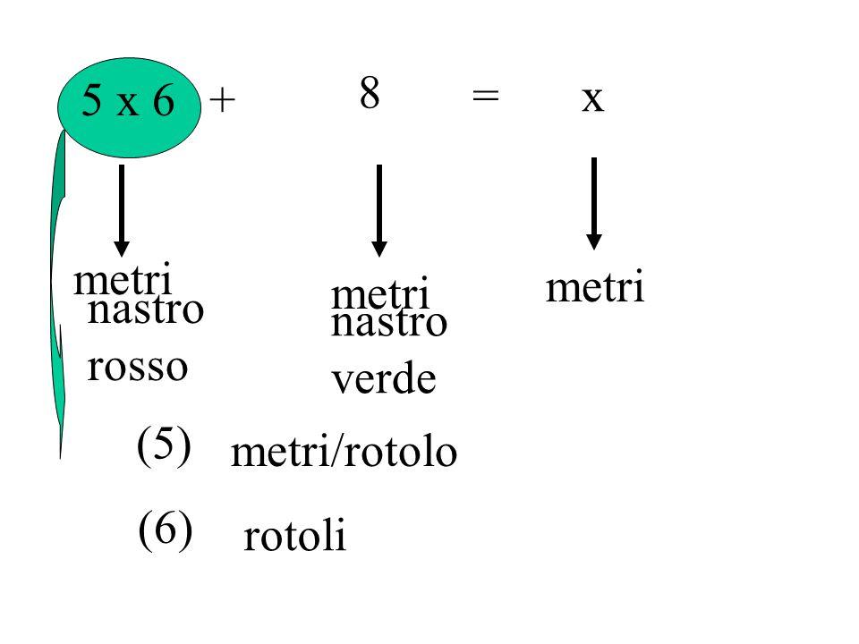 5 x 6+ 8 =x metri nastro rosso nastro verde (5) metri/rotolo (6) rotoli