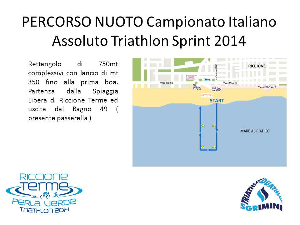 PERCORSO NUOTO Campionato Italiano Assoluto Triathlon Sprint 2014 Rettangolo di 750mt complessivi con lancio di mt 350 fino alla prima boa. Partenza d