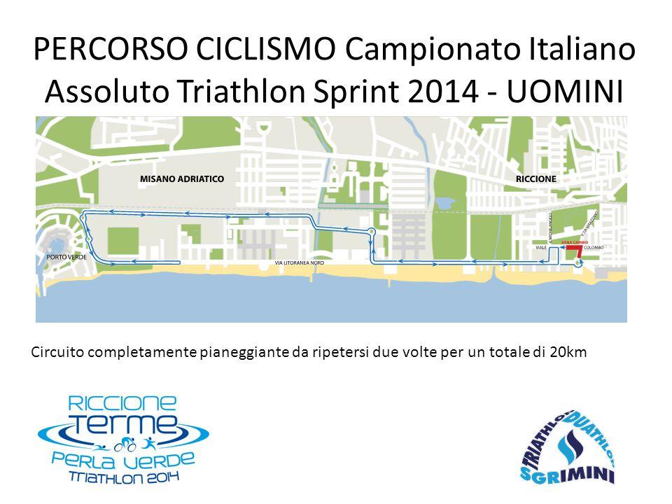 Circuito completamente pianeggiante da ripetersi due volte per un totale di 20km PERCORSO CICLISMO Campionato Italiano Assoluto Triathlon Sprint 2014