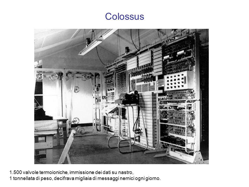 Colossus 1.500 valvole termoioniche, immissione dei dati su nastro, 1 tonnellata di peso, decifrava migliaia di messaggi nemici ogni giorno.