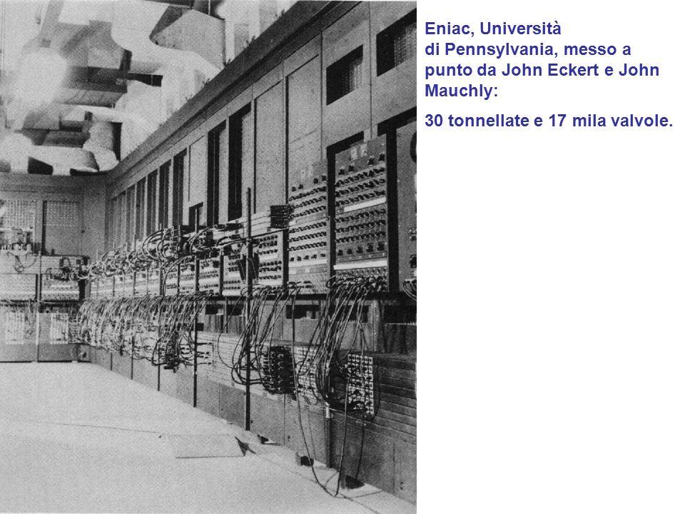 Eniac, Università di Pennsylvania, messo a punto da John Eckert e John Mauchly: 30 tonnellate e 17 mila valvole.