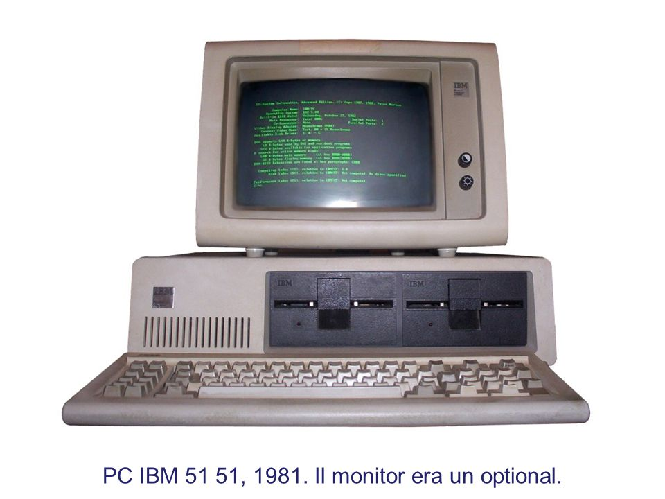 PC IBM 51 51, 1981. Il monitor era un optional.