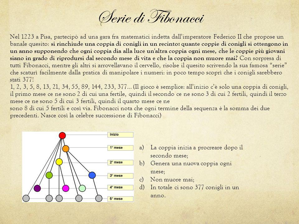 Serie di Fibonacci Nel 1223 a Pisa, partecipò ad una gara fra matematici indetta dall'imperatore Federico II che propose un banale quesito: si rinchiu