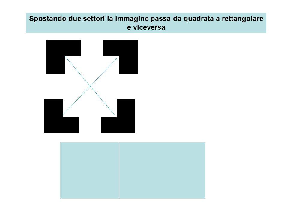 Quattro settori disegnati fermi, orientati:immagine quadrato Immagine scompare, riappare, modificando posizione settori