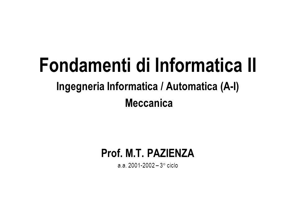 Fondamenti di Informatica II Ingegneria Informatica / Automatica (A-I) Meccanica Prof. M.T. PAZIENZA a.a. 2001-2002 – 3° ciclo