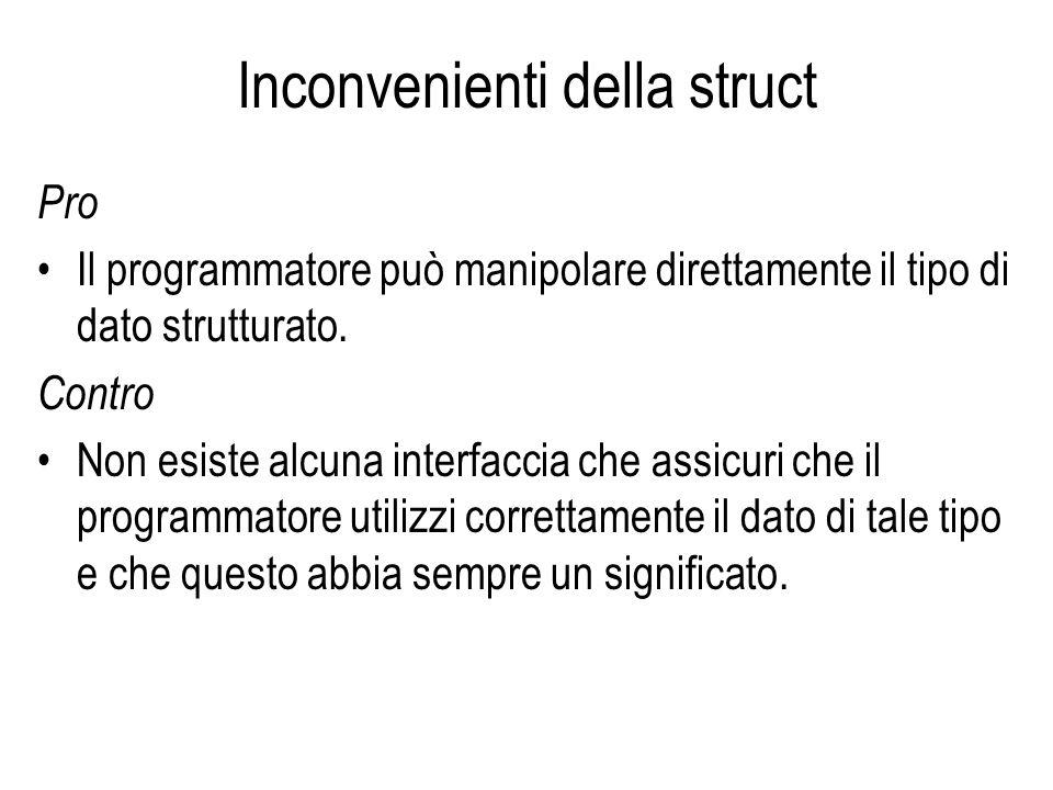 Inconvenienti della struct Pro Il programmatore può manipolare direttamente il tipo di dato strutturato. Contro Non esiste alcuna interfaccia che assi