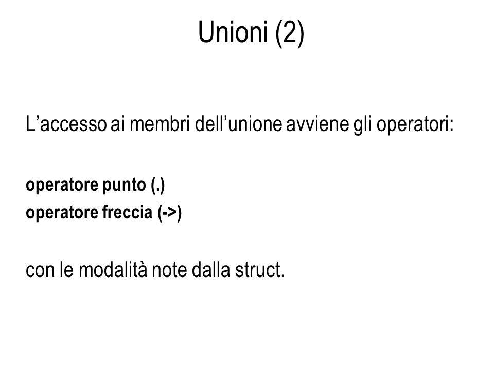 Unioni (2) L'accesso ai membri dell'unione avviene gli operatori: operatore punto (.) operatore freccia (->) con le modalità note dalla struct.