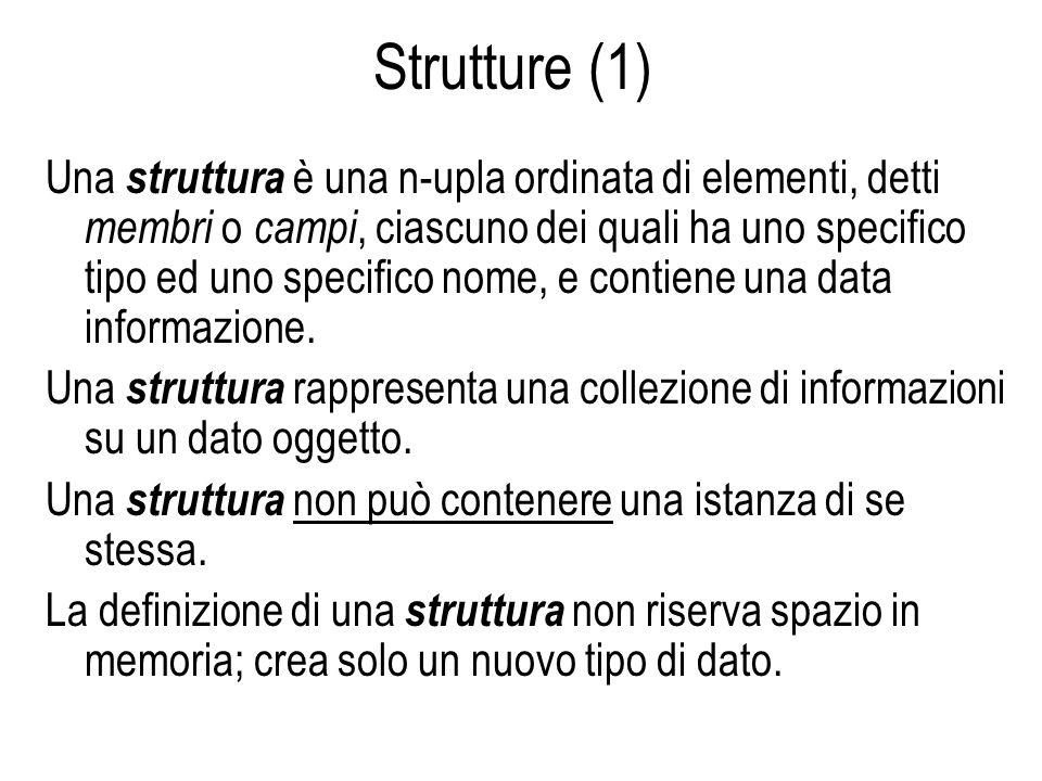 Strutture (1) Una struttura è una n-upla ordinata di elementi, detti membri o campi, ciascuno dei quali ha uno specifico tipo ed uno specifico nome, e