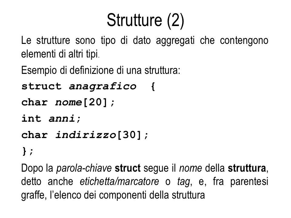 Strutture (2) Le strutture sono tipo di dato aggregati che contengono elementi di altri tipi. Esempio di definizione di una struttura: struct anagrafi