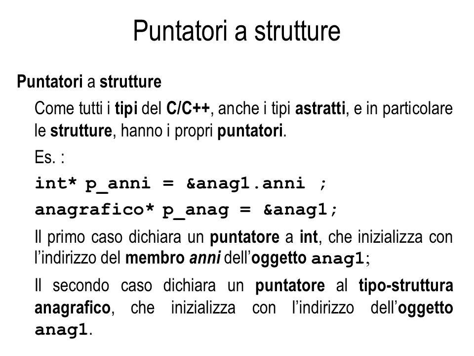 Puntatori a strutture Come tutti i tipi del C/C++, anche i tipi astratti, e in particolare le strutture, hanno i propri puntatori. Es. : int* p_anni =