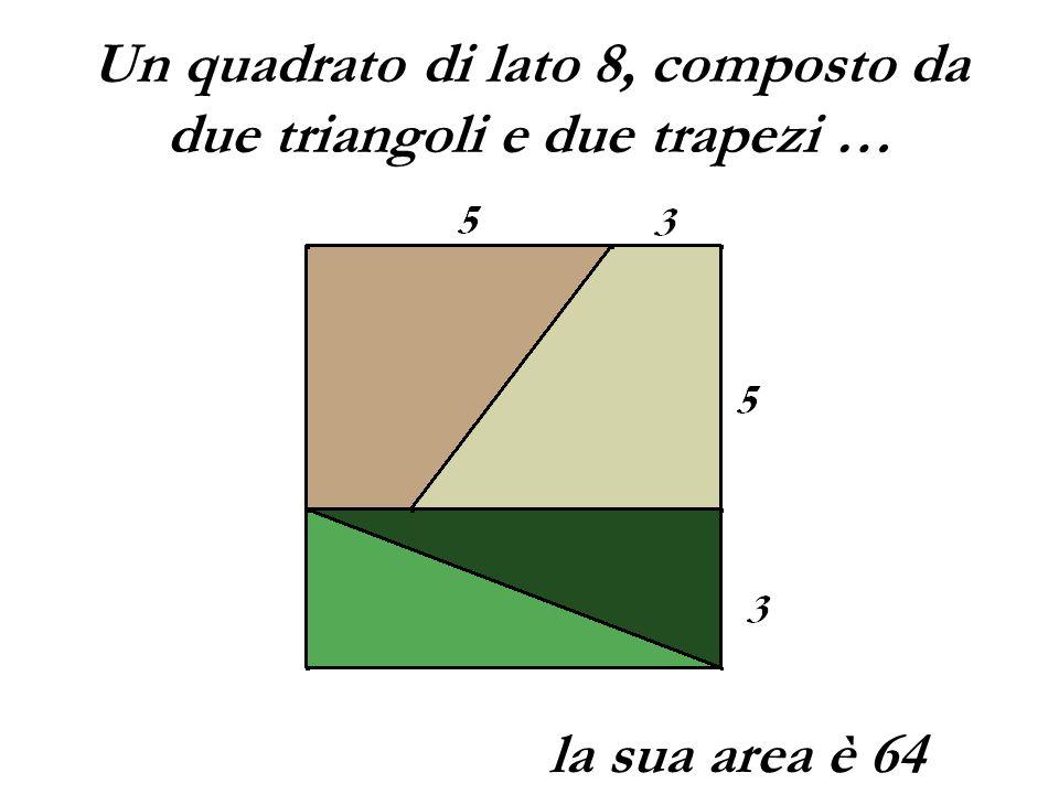 Un quadrato di lato 8, composto da due triangoli e due trapezi … la sua area è 64