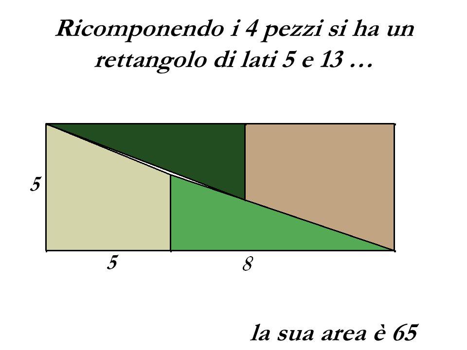 Ricomponendo i 4 pezzi si ha un rettangolo di lati 5 e 13 … la sua area è 65