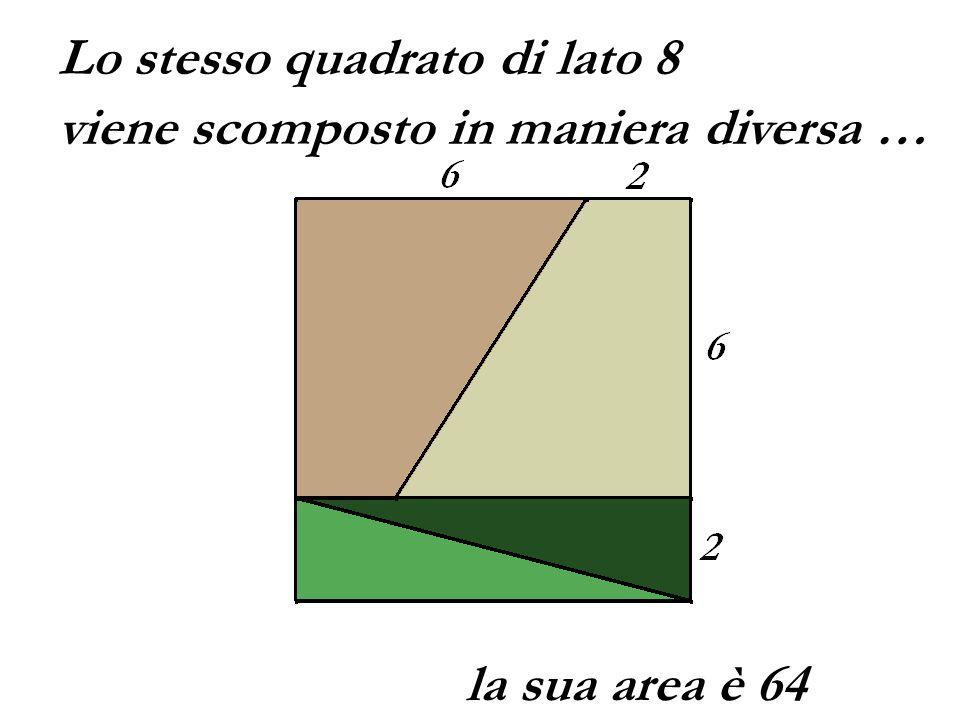 Lo stesso quadrato di lato 8 viene scomposto in maniera diversa … la sua area è 64