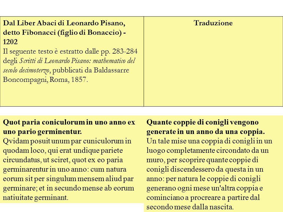 Dal Liber Abaci di Leonardo Pisano, detto Fibonacci (figlio di Bonaccio) - 1202 Il seguente testo è estratto dalle pp. 283-284 degli Scritti di Leonar