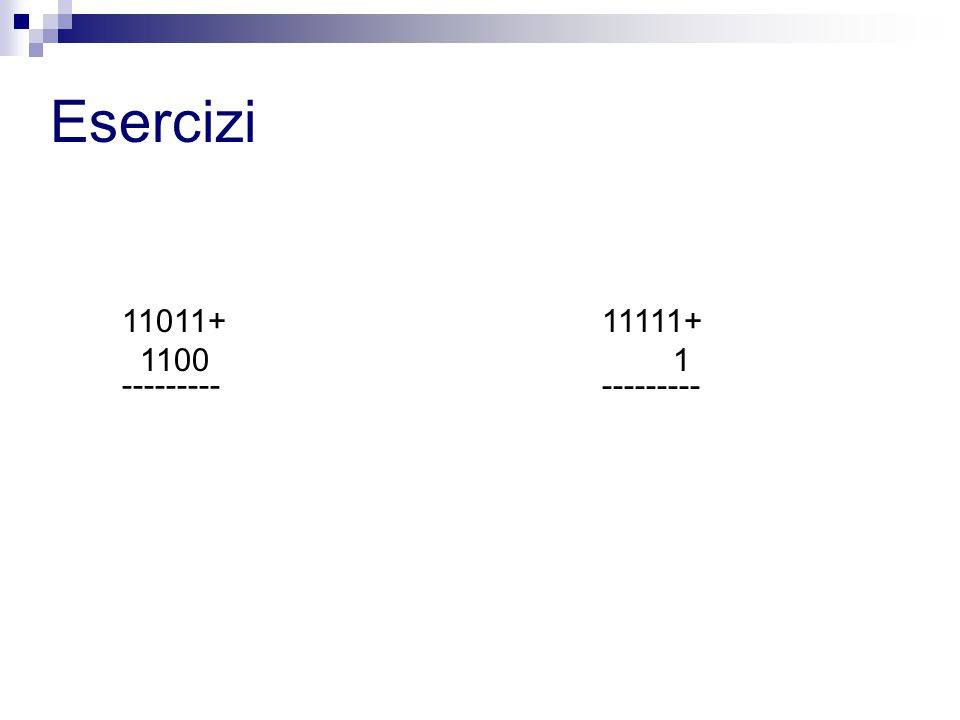 Esercizi 11011+ 1100 --------- 11111+ 1 ---------