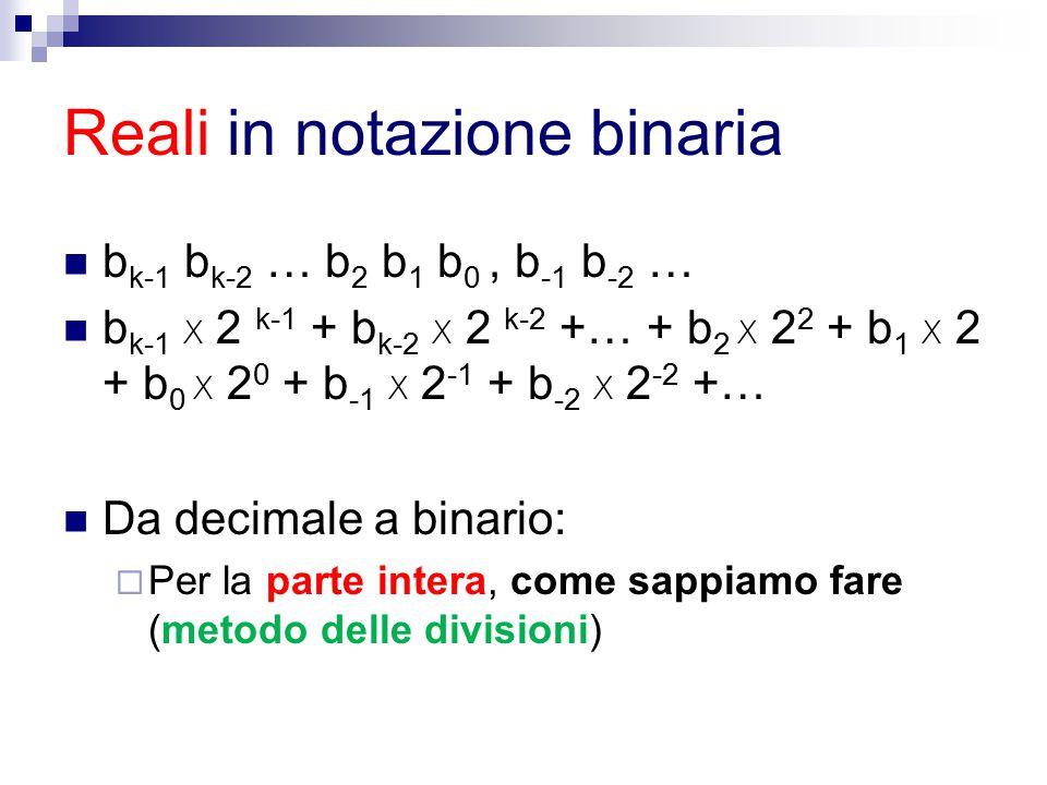 Reali in notazione binaria b k-1 b k-2 … b 2 b 1 b 0, b -1 b -2 … b k-1 x 2 k-1 + b k-2 x 2 k-2 +… + b 2 x 2 2 + b 1 x 2 + b 0 x 2 0 + b -1 x 2 -1 + b