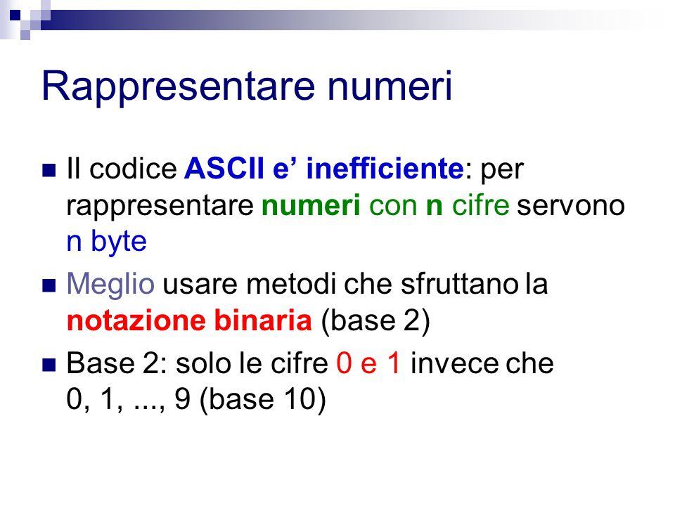 Rappresentare numeri Il codice ASCII e' inefficiente: per rappresentare numeri con n cifre servono n byte Meglio usare metodi che sfruttano la notazio
