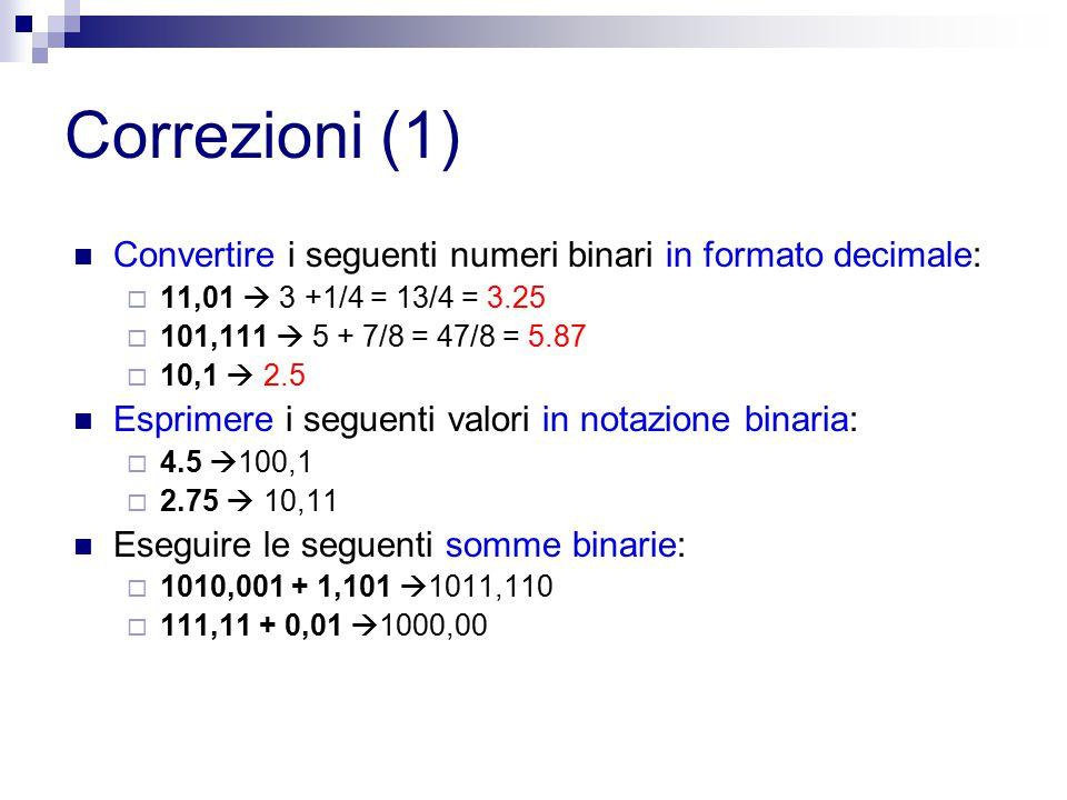 Correzioni (1) Convertire i seguenti numeri binari in formato decimale:  11,01  3 +1/4 = 13/4 = 3.25  101,111  5 + 7/8 = 47/8 = 5.87  10,1  2.5