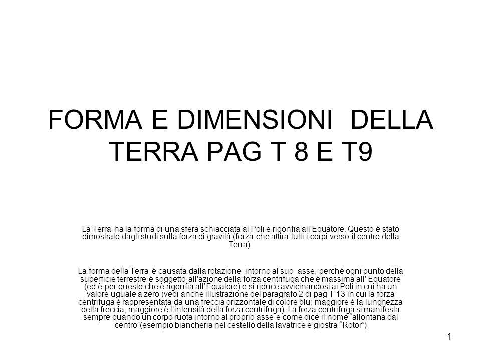 1 FORMA E DIMENSIONI DELLA TERRA PAG T 8 E T9 La Terra ha la forma di una sfera schiacciata ai Poli e rigonfia all Equatore.