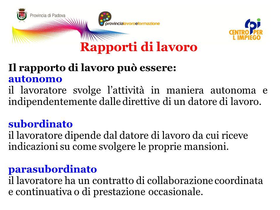 Rapporti di lavoro Il rapporto di lavoro può essere: autonomo il lavoratore svolge l'attività in maniera autonoma e indipendentemente dalle direttive di un datore di lavoro.