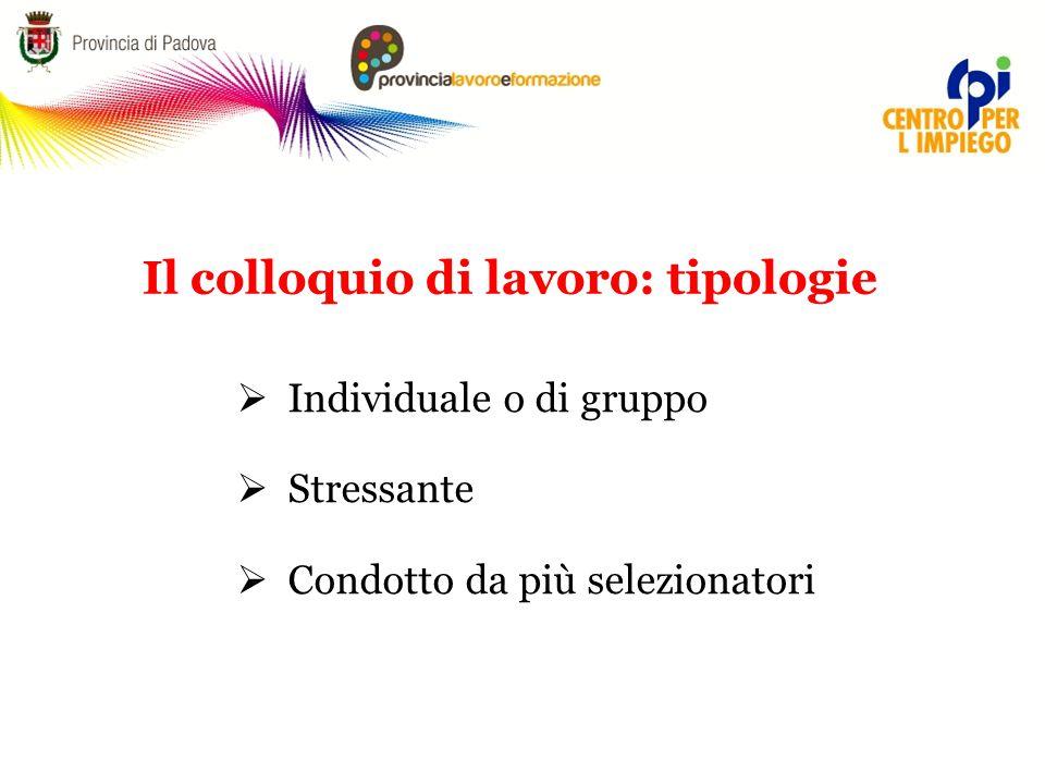  Individuale o di gruppo  Stressante  Condotto da più selezionatori Il colloquio di lavoro: tipologie