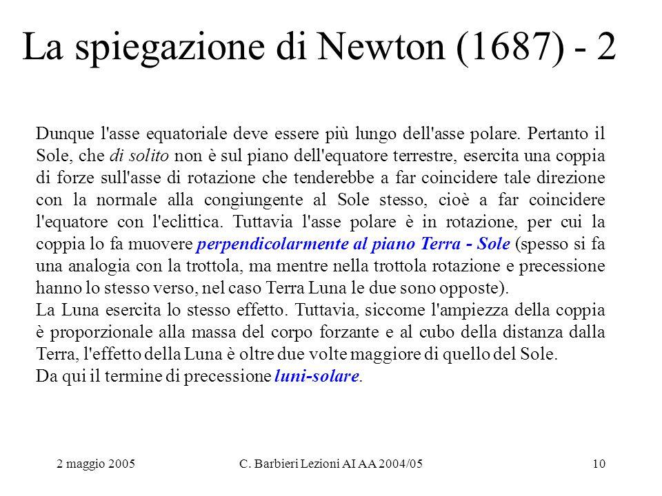 2 maggio 2005C. Barbieri Lezioni AI AA 2004/0510 La spiegazione di Newton (1687) - 2 Dunque l'asse equatoriale deve essere più lungo dell'asse polare.