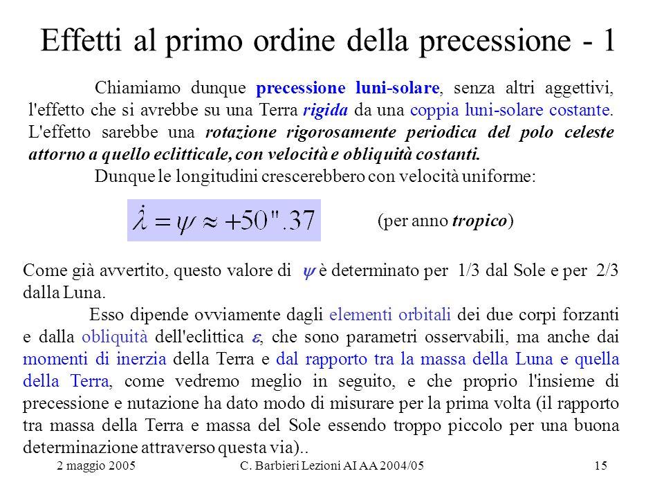 2 maggio 2005C. Barbieri Lezioni AI AA 2004/0515 Effetti al primo ordine della precessione - 1 Chiamiamo dunque precessione luni-solare, senza altri a
