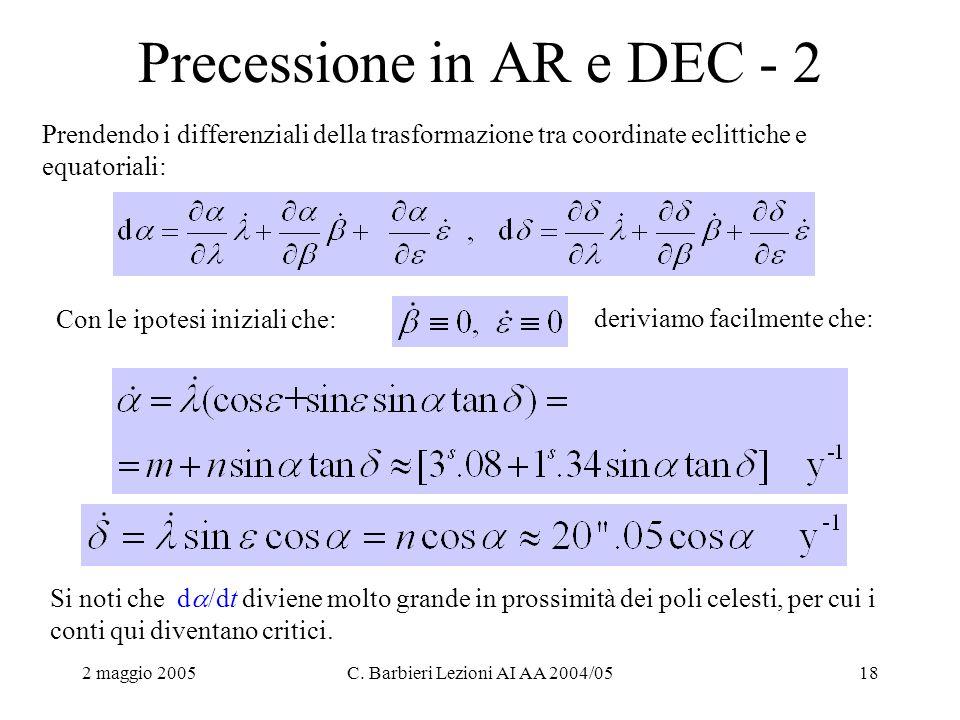 2 maggio 2005C. Barbieri Lezioni AI AA 2004/0518 Precessione in AR e DEC - 2 Prendendo i differenziali della trasformazione tra coordinate eclittiche