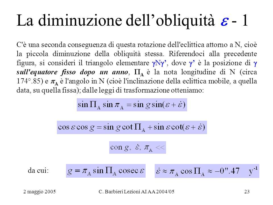 2 maggio 2005C. Barbieri Lezioni AI AA 2004/0523 La diminuzione dell'obliquità  - 1 C'è una seconda conseguenza di questa rotazione dell'eclittica at