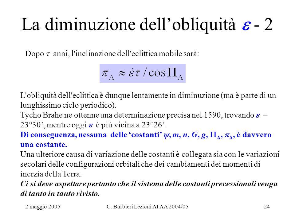 2 maggio 2005C. Barbieri Lezioni AI AA 2004/0524 La diminuzione dell'obliquità  - 2 Dopo  anni, l'inclinazione dell'eclittica mobile sarà: L'obliqui