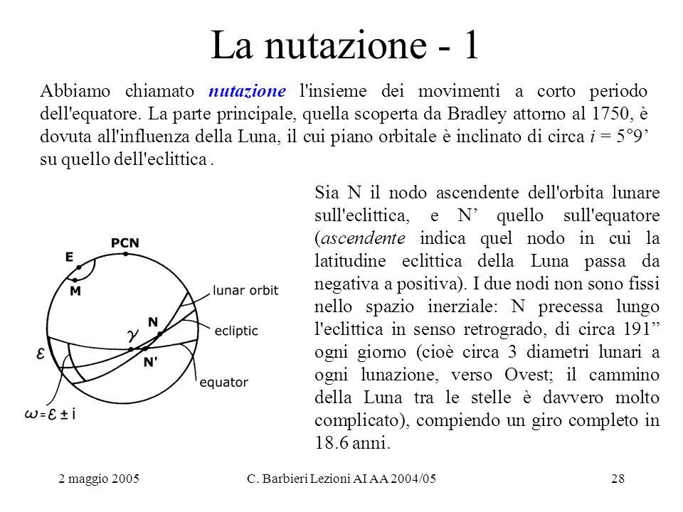 2 maggio 2005C. Barbieri Lezioni AI AA 2004/0528 La nutazione - 1 Abbiamo chiamato nutazione l'insieme dei movimenti a corto periodo dell'equatore. La