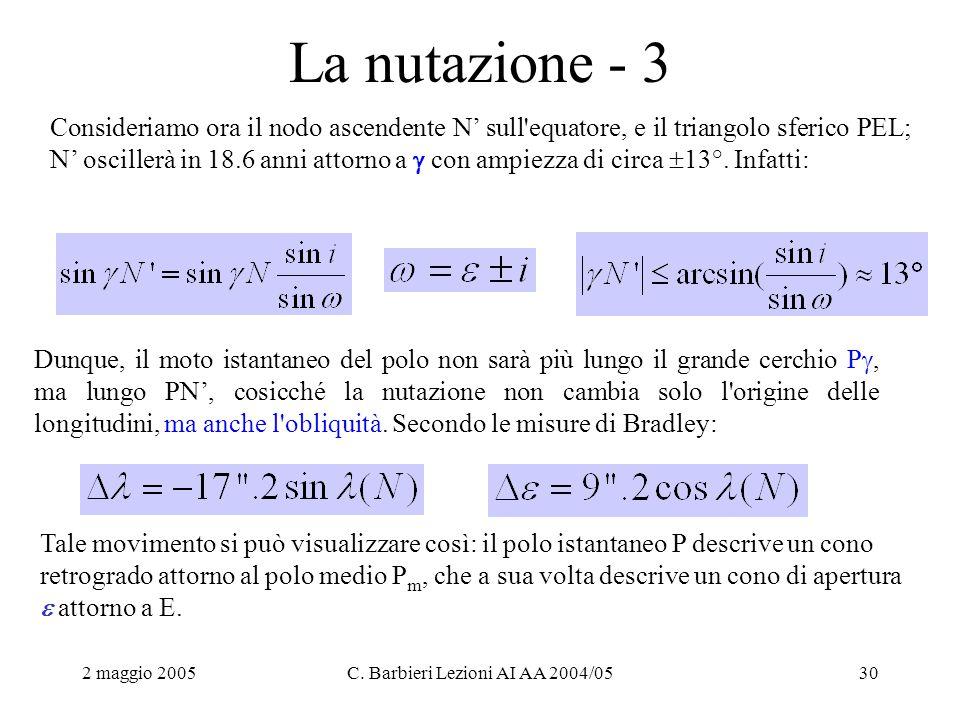 2 maggio 2005C. Barbieri Lezioni AI AA 2004/0530 La nutazione - 3 Consideriamo ora il nodo ascendente N' sull'equatore, e il triangolo sferico PEL; N'