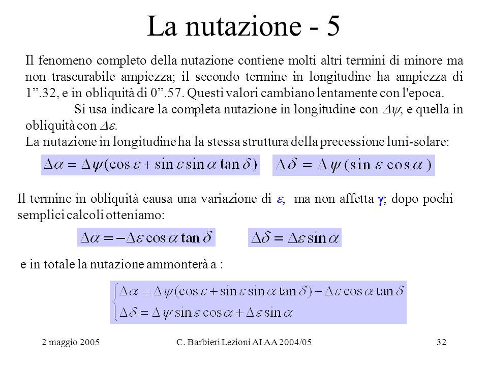 2 maggio 2005C. Barbieri Lezioni AI AA 2004/0532 La nutazione - 5 Il fenomeno completo della nutazione contiene molti altri termini di minore ma non t