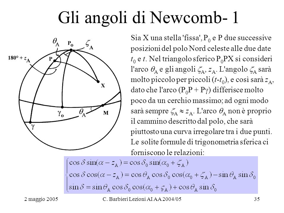 2 maggio 2005C. Barbieri Lezioni AI AA 2004/0535 Gli angoli di Newcomb- 1 Sia X una stella 'fissa', P 0 e P due successive posizioni del polo Nord cel