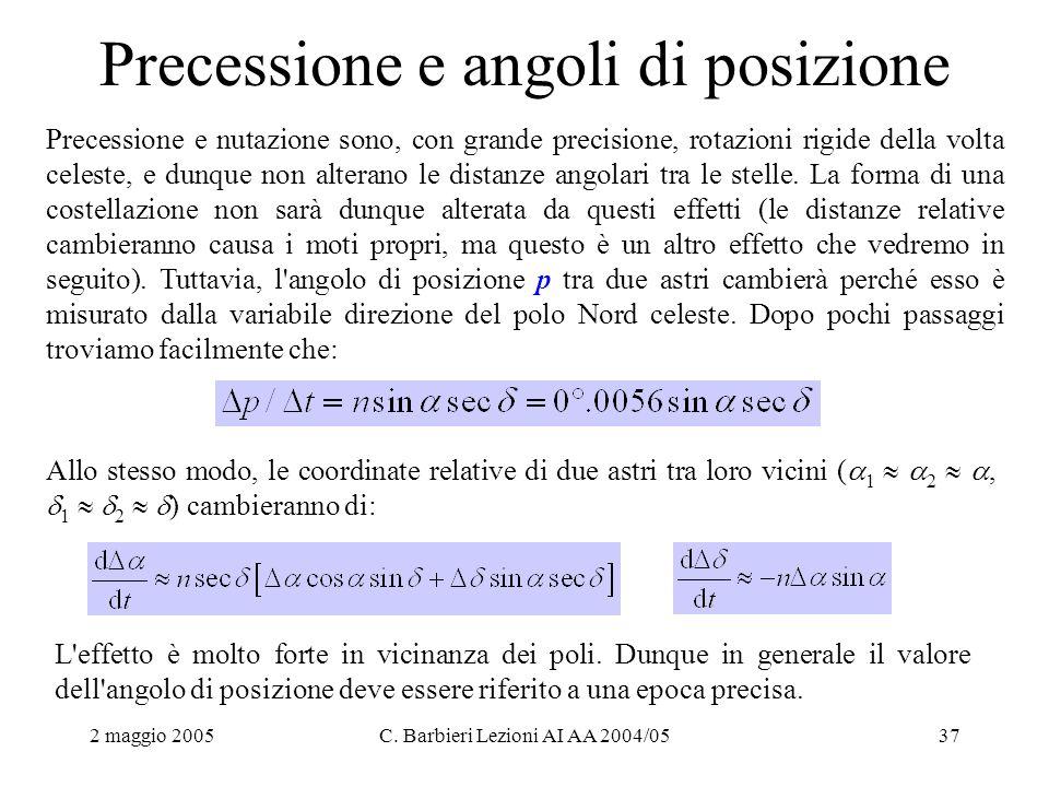 2 maggio 2005C. Barbieri Lezioni AI AA 2004/0537 Precessione e angoli di posizione Precessione e nutazione sono, con grande precisione, rotazioni rigi