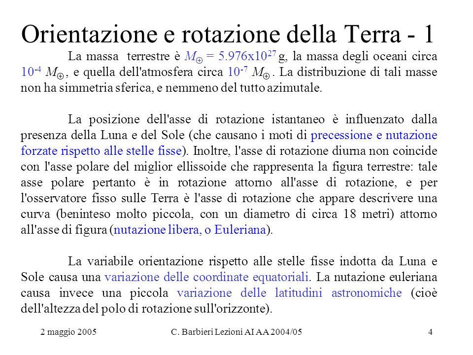 2 maggio 2005C. Barbieri Lezioni AI AA 2004/054 Orientazione e rotazione della Terra - 1 La massa terrestre è M  = 5.976x10 27 g, la massa degli ocea