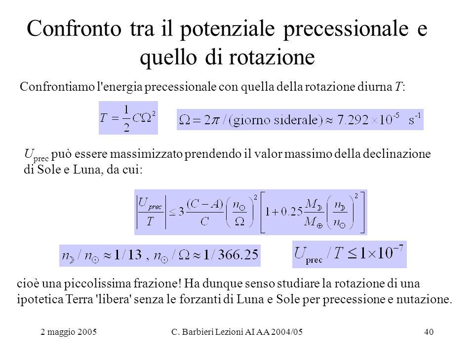 2 maggio 2005C. Barbieri Lezioni AI AA 2004/0540 Confronto tra il potenziale precessionale e quello di rotazione Confrontiamo l'energia precessionale