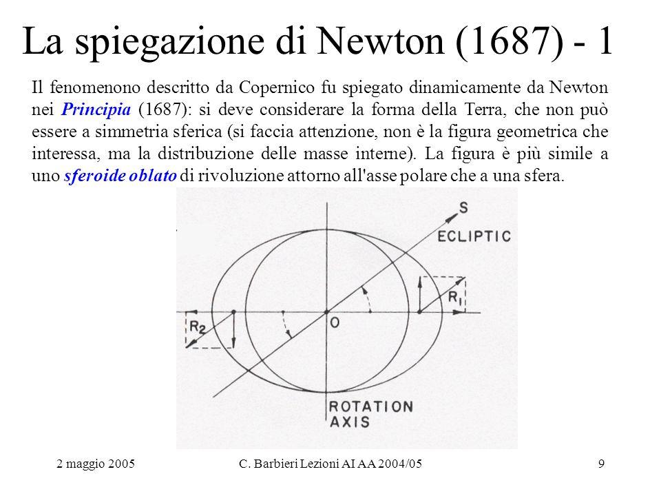 2 maggio 2005C. Barbieri Lezioni AI AA 2004/059 La spiegazione di Newton (1687) - 1 Il fenomenono descritto da Copernico fu spiegato dinamicamente da
