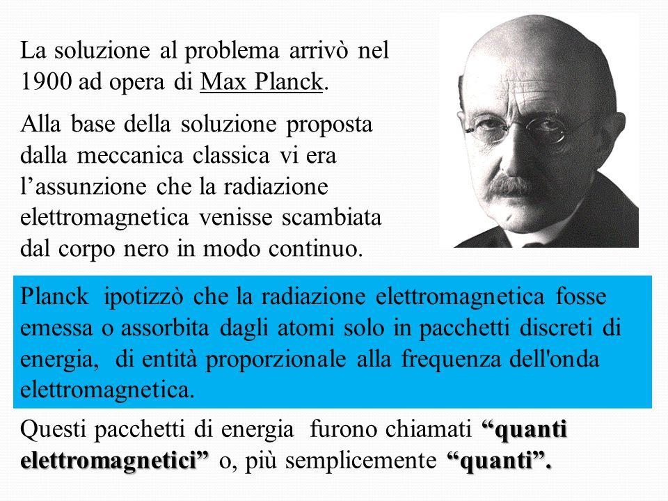 Secondo Planck, l'energia E scambiata dal corpo nero è direttamente proporzionale alla frequenza f dell'onda elettromagnetica assorbita o emessa secondo la formula E = n h f dove n è un intero positivo ed h è la costante di Planck , il cui valore numerico attualmente accettato è h = 6,62607 x 10 -34 J · s