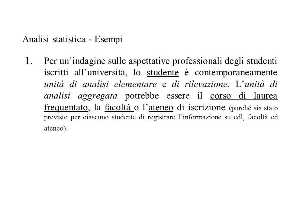 1. Per un'indagine sulle aspettative professionali degli studenti iscritti all'università, lo studente è contemporaneamente unità di analisi elementar