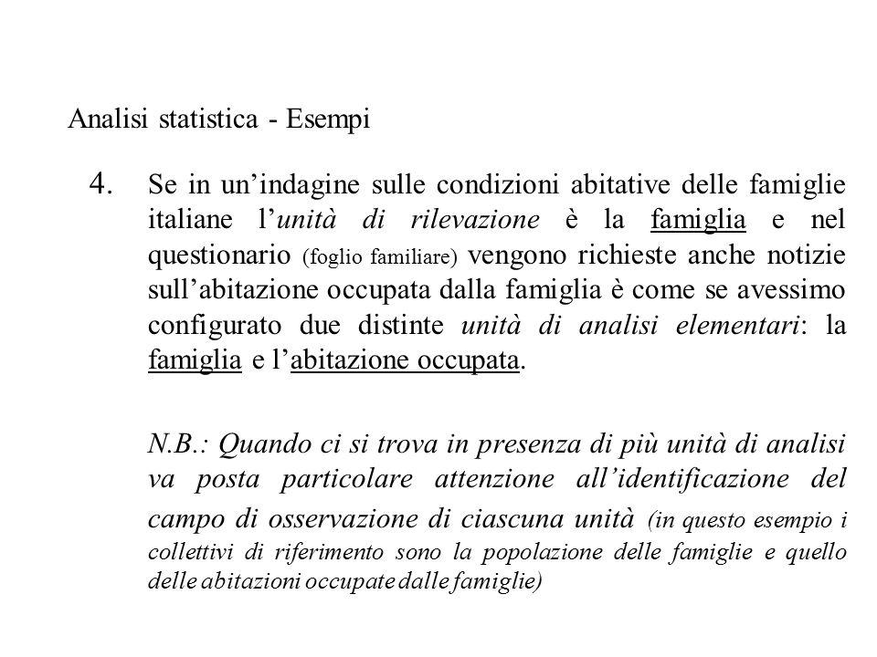 4. Se in un'indagine sulle condizioni abitative delle famiglie italiane l'unità di rilevazione è la famiglia e nel questionario (foglio familiare) ven
