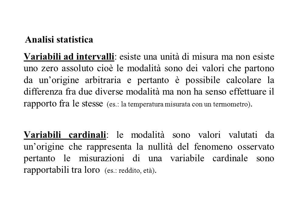 Variabili ad intervalli: esiste una unità di misura ma non esiste uno zero assoluto cioè le modalità sono dei valori che partono da un'origine arbitraria e pertanto è possibile calcolare la differenza fra due diverse modalità ma non ha senso effettuare il rapporto fra le stesse (es.: la temperatura misurata con un termometro).